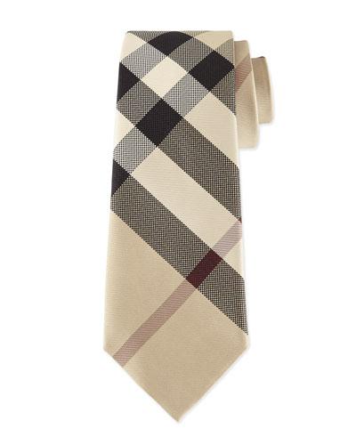 Classic Check Silk Tie, Taupe