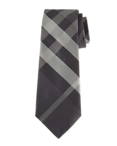 Beat Check Silk Tie, Gray