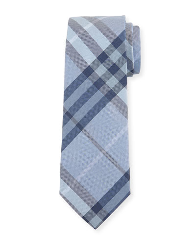 Check Silk Tie, Blue