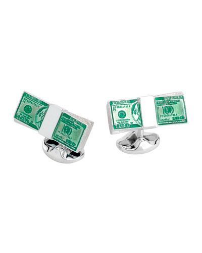 Dollar Bill Sterling Silver Cuff Links