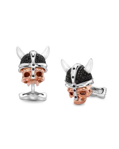 Silver Skull-Head Savage Cuff Links
