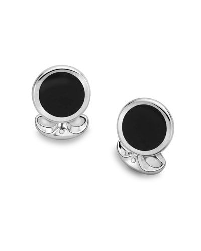 Black Onyx Round Cuff Links