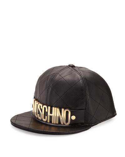 Men's Golden Logo Quilted Leather Flat-Bill Hat, Black