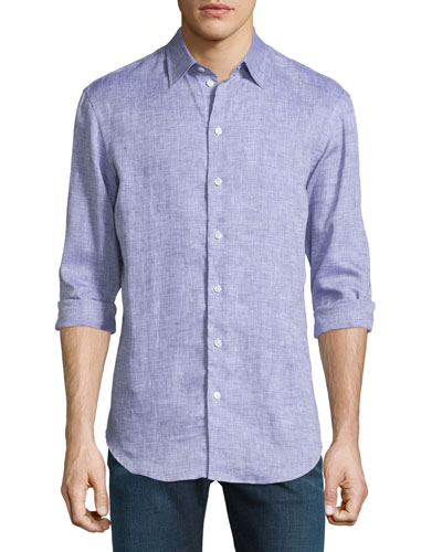 Melange Linen Button-Down Shirt, Purple
