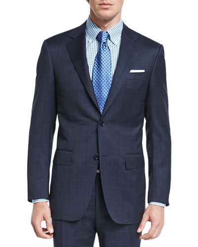 Sienna Contemporary-Fit Tonal-Plaid Suit, Navy