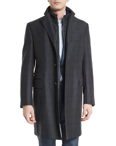 ID Classic Plaid Card Coat, Charcoal