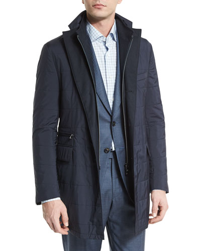 ID Nylon Car Coat with Gilet, Navy