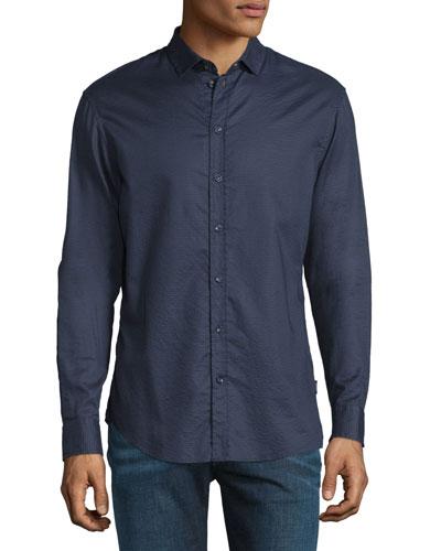 Tonal Textured Jacquard Sport Shirt, Navy