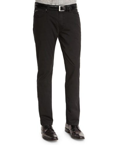 Five-Pocket Stretch-Cotton Pants, Black