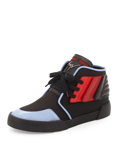 Foxy London High-Top Sneaker, Black/Red/Blue