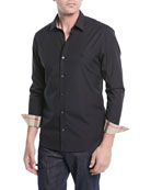 Cambridge Check-Trim Woven Shirt, Black