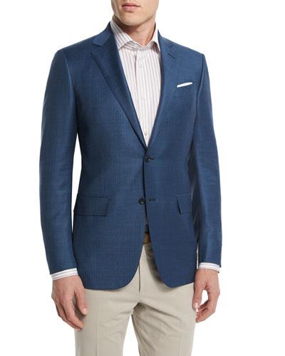 Milano Mini-Houndstooth Two-Button Wool Jacket, Aqua