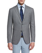 Milano Textured Solid Two-Button Blazer, Gray