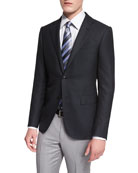 Milano Solid Twill Two-Button Jacket, Black