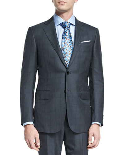 Windowpane Silk-Blend Two-Piece Suit, Charcoal