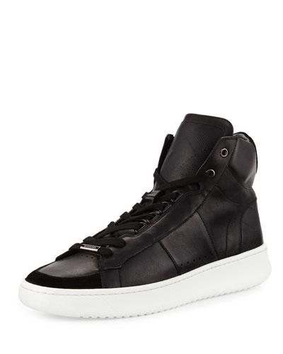 Walbrook Leather High-Top Sneaker, Black