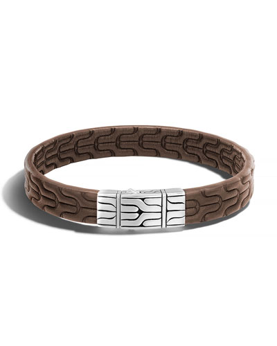 Classic Chain Men's Leather Bracelet, Silver/Brown