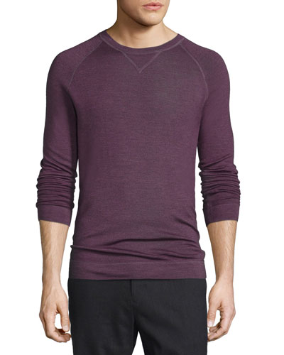 Raglan-Sleeve Crewneck Sweater, Bright Red