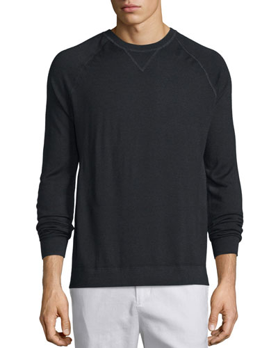 Crewneck Raglan-Sleeve Sweater, Black
