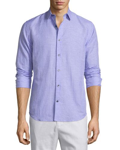 Linen-Blend Long-Sleeve Sport Shirt, Purple