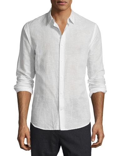 Melrose Linen-Cotton Sport Shirt, White