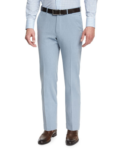 Cotton-Twill Flat-Front Trousers, Light Blue