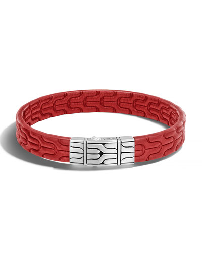 Classic Chain Men's Leather Bracelet, Silver/Red