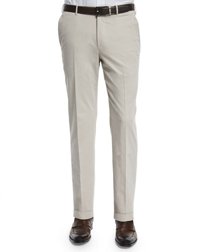 Cashmere-Blend Flat-Front Trousers, Tan