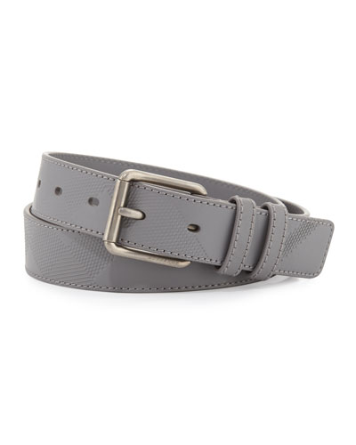 Mark Men's Embossed Check Leather Belt, Gray