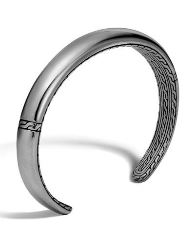 Men's Classic Chain Cuff Bracelet, Silver/Black
