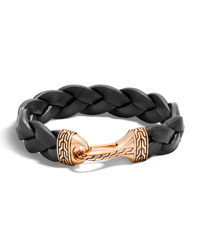 Men's Classic Chain Leather Bronze-Hook Bracelet