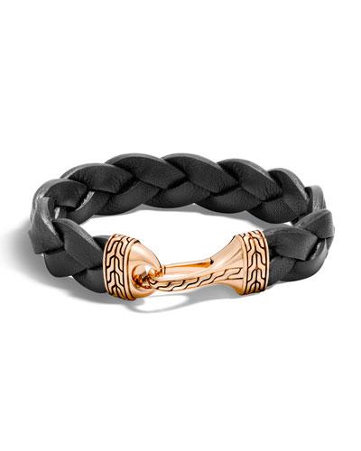 Men's Classic Chain Leather Bronze-Hook Bracelet