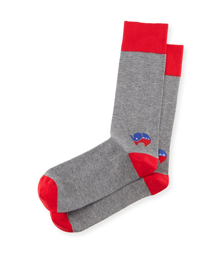 Red-Elephant Election Socks, Red/Gray