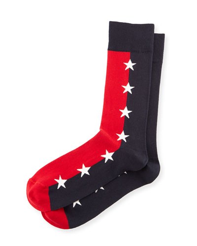 Star-Print Colorblock Socks, Blue/Red