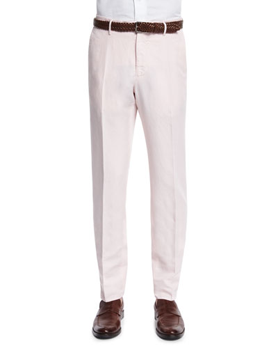 Chinolino Cotton/Linen Straight-Leg Trousers, Pink