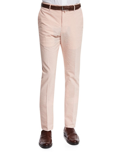 Benn Seersucker Cotton/Linen Straight-Leg Pants, Orange/White