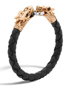 John Hardy Men's Legends Naga Dragon Leather Bracelet