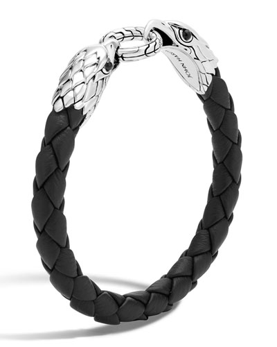 Silver Eagle Head Woven Bracelet