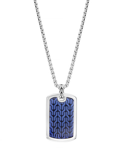 Men's Classic Chain Silver Dog Tag Necklace