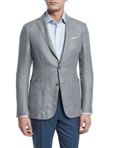 Capri Textured Basketweave Two-Button Jacket, Light Gray