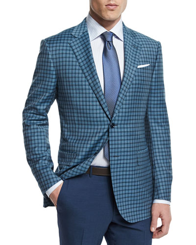 Check Two-Button Wool Jacket, Teal