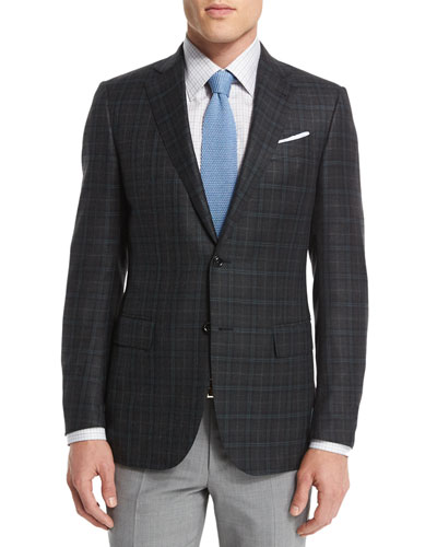 Plaid Two-Button Wool Blazer, Gray/Green