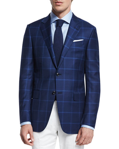 Milano Plaid Two-Button Trofeo® Wool Blazer, Navy