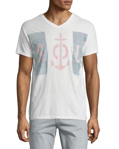 Blockade Graphic V-Neck T-Shirt, White