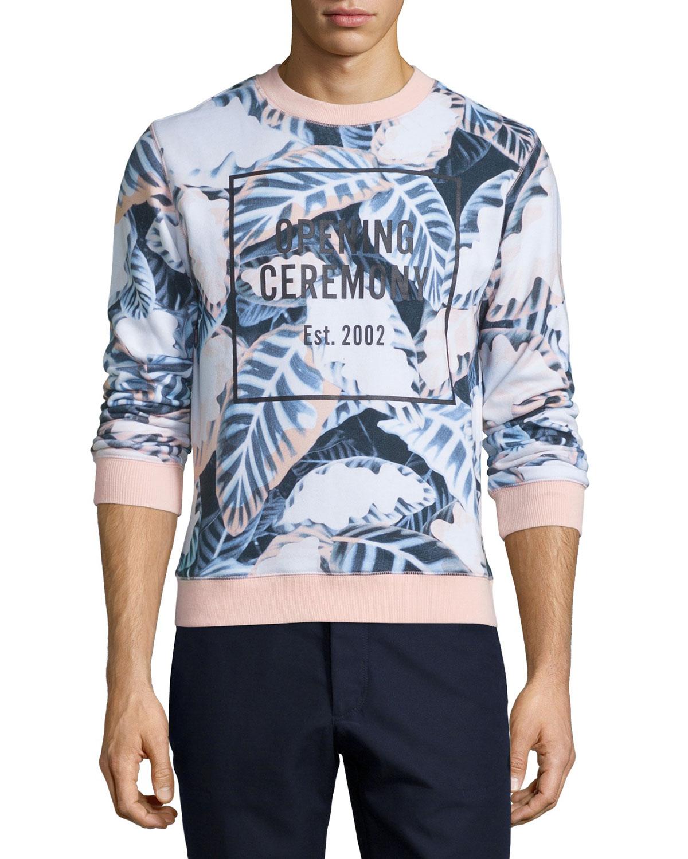 Leaves-Print Logo Sweatshirt, Blush Pink/Multi