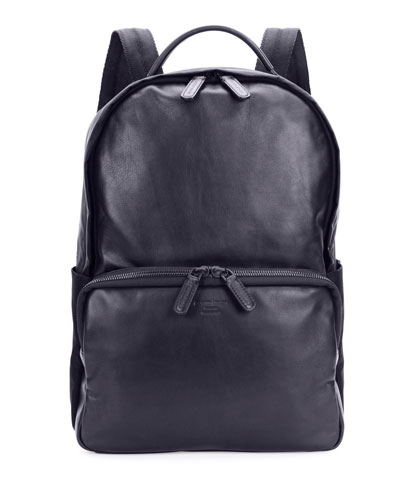 Solid Leather Backpack, Blue
