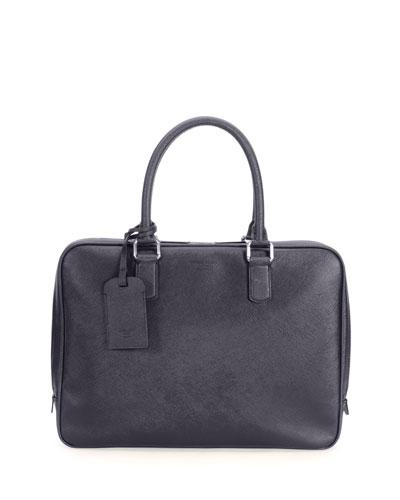 Leather Computer Bag, Blue