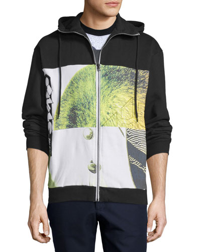 Graphic-Print Long-Sleeve Hoodie, Black/Multi