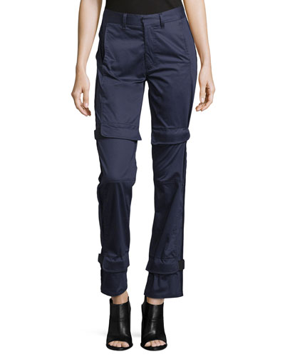 Yan Straight-Leg Trousers, Navy