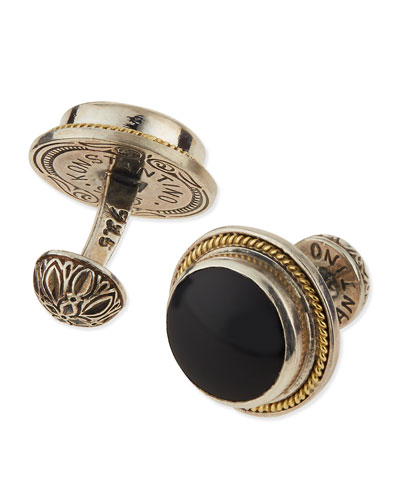 Round Onyx & Gold Cuff Links